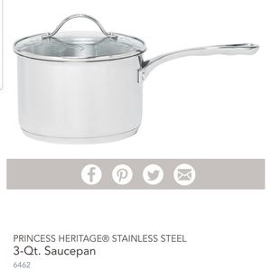 NIB 3 Qt. Stainless Steel Saucepan with Lid
